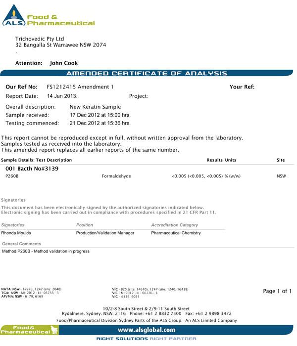Trichovedic Formaldehyde Testing 1110-3
