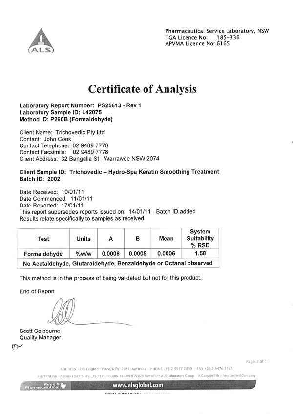 Formaldehyde Testing 001