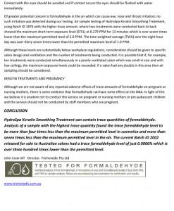 Trichovedic Formaldehyde Testing 1110-4