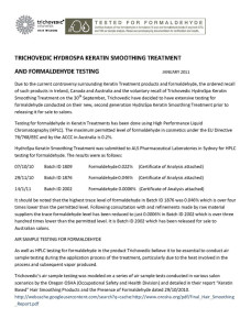 Trichovedic Formaldehyde Testing 1