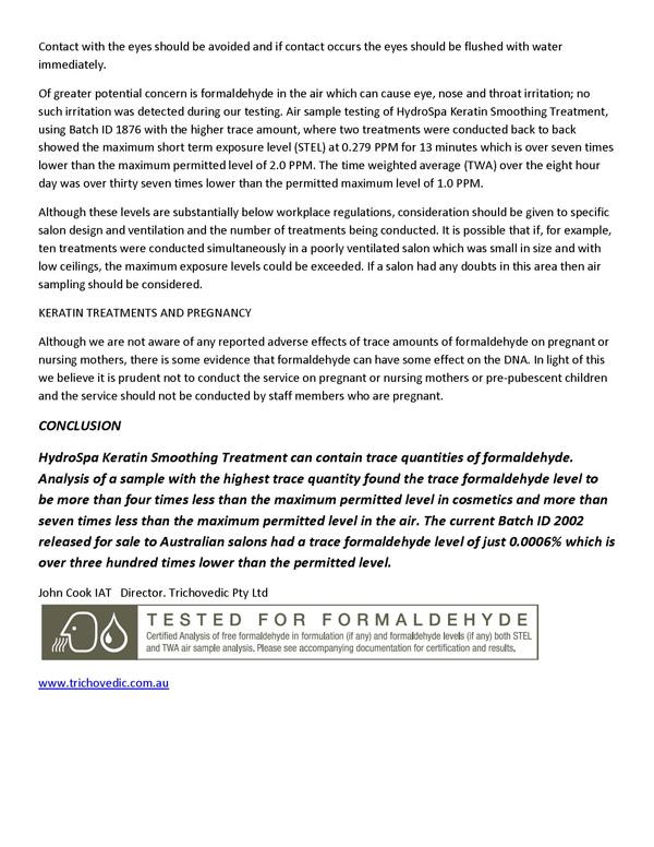 Trichovedic Formaldehyde Testing 4